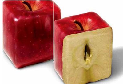 Широкоформатные обои Квадратные яблоки, Красные яблоки.
